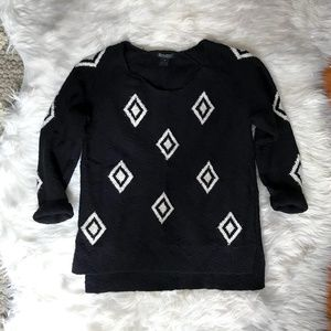 LUCKY BRAND Black Diamond Graphic Sweater Sz M